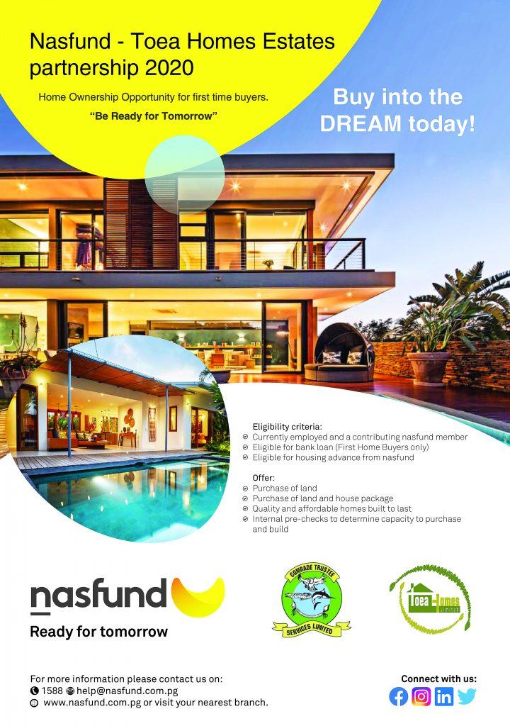 Nasfund Toea Homes Estates Partnership 2020 Nasfund